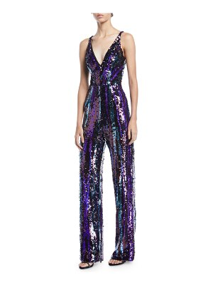 Dress the Population Charlie Brushstroke Sequin Sleeveless Jumpsuit