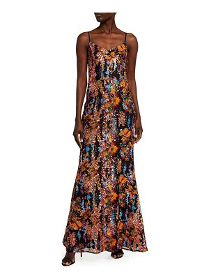 Dress the Population Giovanna Floral Sequin Bustier Column Gown