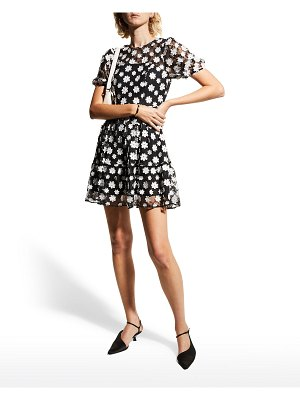 Dress the Population Lillianna Puff-Sleeve Floral Lace Dress