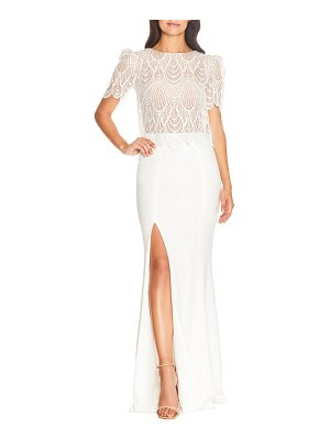 Dress the Population ramona lace popover bodice trumpet gown