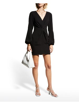 Dress the Population Rylee Knot-Front Long-Sleeve Dress