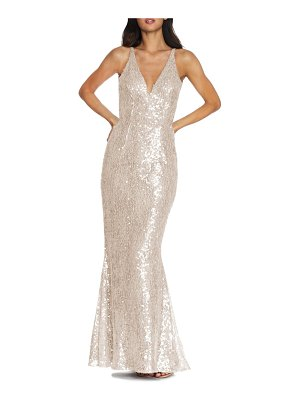 Dress the Population sharon lace sequin plunge neck mermaid gown