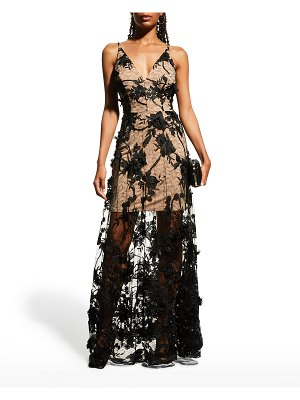 Dress the Population Sidney Floral Lace Illusion Dress
