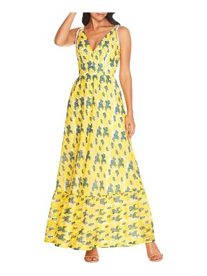 Dress the Population sunny embroidered floral tie shoulder gown