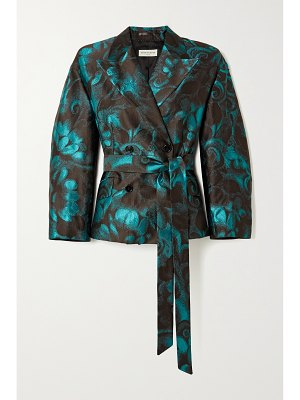 Dries Van Noten belted double-breasted floral-jacquard blazer