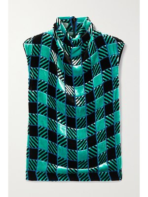 Dries Van Noten checked flocked paneled crepe de chine and satin blouse