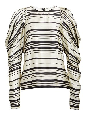 Dries Van Noten coal stripe drape statement sleeve top