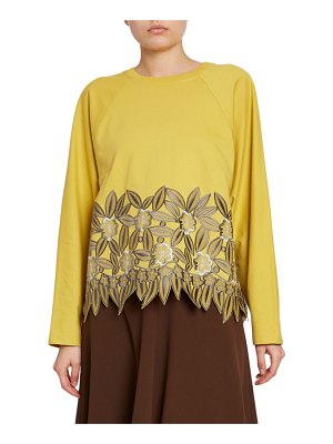Dries Van Noten Crewneck Rose-Embroidered Lace-Hem Sweatshirt