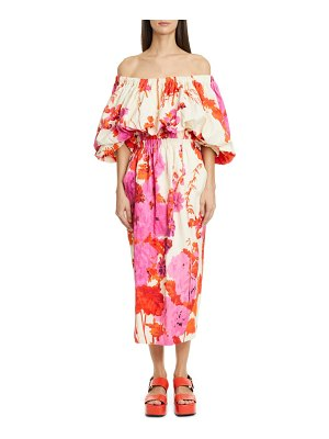 Dries Van Noten dayna floral off the shoulder midi dress