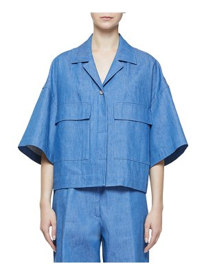 Dries Van Noten Elbow-Sleeve Oversized Denim Jacket with Large Patch Pockets