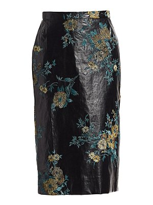 Dries Van Noten embroidered faux-leather pencil skirt