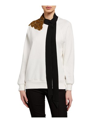 Dries Van Noten Embroidered Tie-Neck Sweatshirt