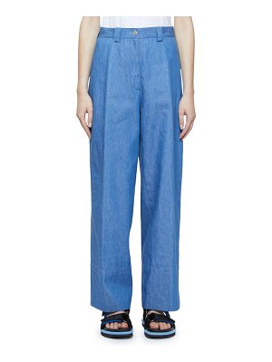 Dries Van Noten Faux-Cuff Wide-Leg Denim Pants