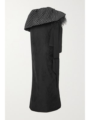 Dries Van Noten feather-trimmed polka-dot satin and floral-jacquard maxi skirt