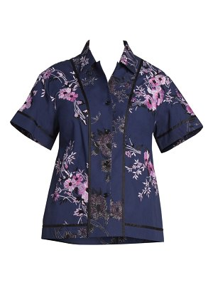 Dries Van Noten floral-embroidered button-down top