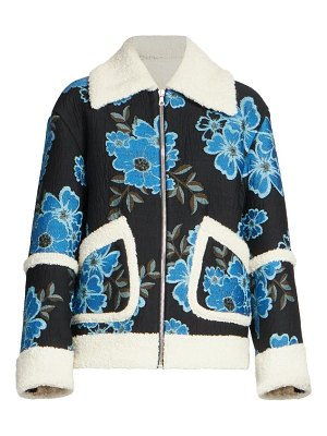 Dries Van Noten floral embroidered faux-shearling jacket