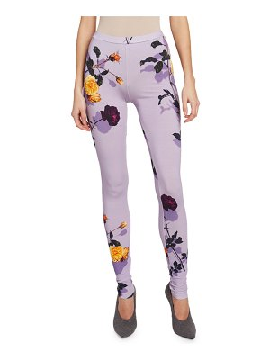 Dries Van Noten Floral-Print Jersey Leggings