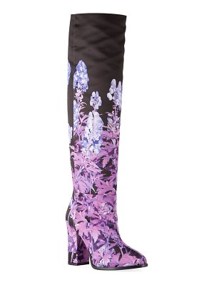 Dries Van Noten Floral-Print Knee Boots