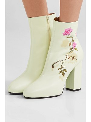 Dries Van Noten floral-print leather ankle boots