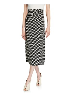 Dries Van Noten Geometric Print Ruched-Jersey High-Rise Skirt