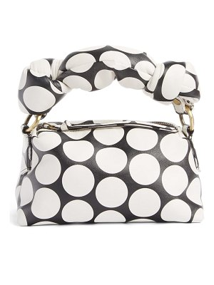 Dries Van Noten large puff polka dot leather clutch
