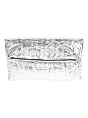 Dries Van Noten metallic leather pleated foldover clutch