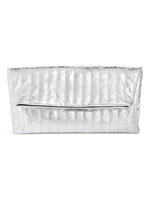 Dries Van Noten metallic quilted leather foldover clutch