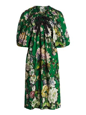 Dries Van Noten off-the-shoulder floral puff-sleeve dress