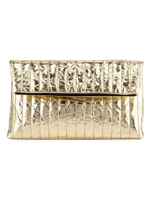 Dries Van Noten Quilted Metallic Leather Clutch Bag