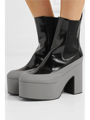Dries Van Noten rubber-trimmed glossed-leather platform ankle boots