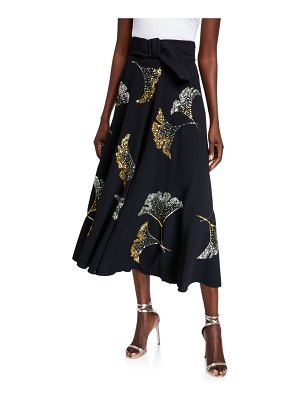 Dries Van Noten Sequined Belted Midi Skirt