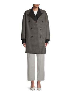 Dries Van Noten Two-Piece Textured Topper and Double-Breasted Wool Coat