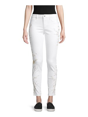 Driftwood Botanical-Embroidered Ankle-Length Jeans