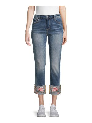 Driftwood Colette Rose Embroidery Straight Cropped Jeans