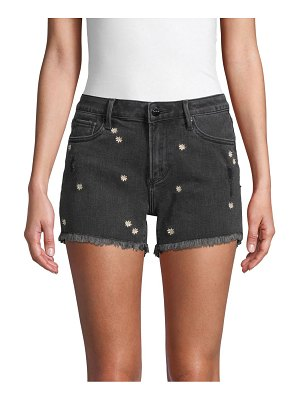 Driftwood Daisy-Embroidered Denim Shorts