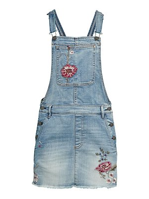 Driftwood Floral-Embroidered Denim Dress