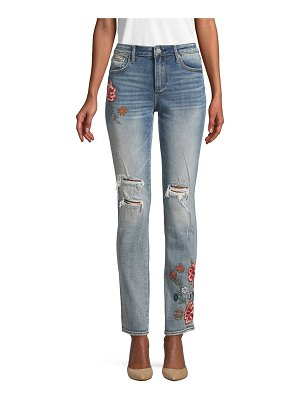 Driftwood Floral Embroidered Straight-Leg Jeans