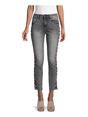 Driftwood Jackie High-Rise Chevron Embroidery Crop Jeans