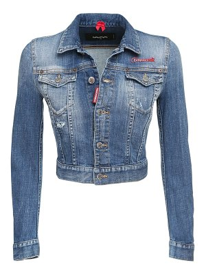 DSQUARED2 Crop logo cotton denim jacket