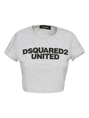 DSQUARED2 Crop logo print cotton blend t-shirt