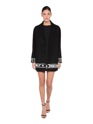 DSQUARED2 Embroidered hem wool cloth coat