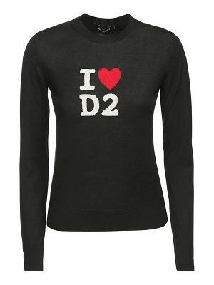 DSQUARED2 I love d2 intarsia knit wool sweater