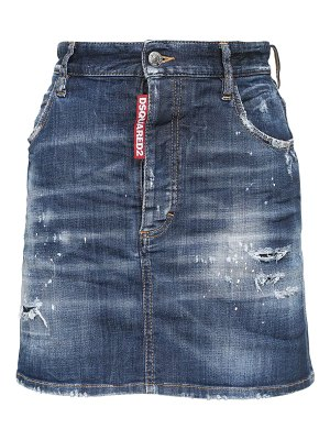 DSQUARED2 Icon print cotton denim mini skirt