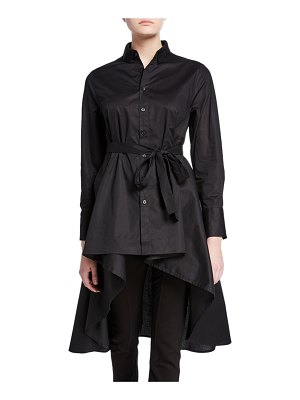 DUBGEE by Whoopi Button-Down High-Low Belted Cotton Poplin Tunic