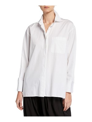 DUBGEE by Whoopi Button-Front Cotton Poplin Shirt w/ Side-Button Detail