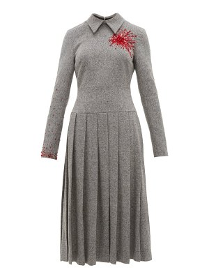 Duncan exploding heart bead embellished wool blend dress