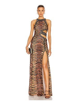 DUNDAS cut out tiger print maxi dress