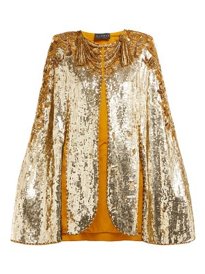 DUNDAS embroidered sequinned sleeveless cape