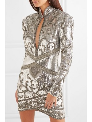 DUNDAS lace-paneled embellished silk-georgette mini dress