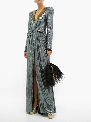 DUNDAS long sleeved sequinned gown